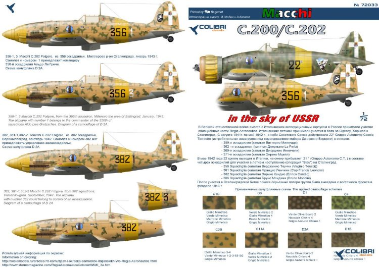 72033 ltalian fighters in the sky of the USSR (MC. 200/ MC. 202)